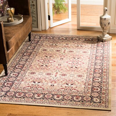 Marion Cream/Navy Area Rug Rug Size: Rectangle 51 x 76