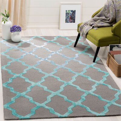 Parker Lane Hand-Tufted Gray/Turquoise Area Rug Rug Size: Rectangle 5 x 8