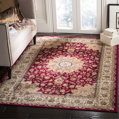 Carolus Red/Beige Area Rug Rug Size: Rectangle 22 x 37