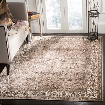 Carolus Traditional Taupe Area Rug Rug Size: Rectangle 22 x 37