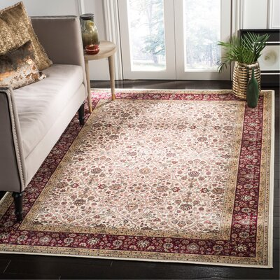 Carolus Traditional Rectangle Ivory/Red Area Rug Rug Size: Rectangle 8 x 10