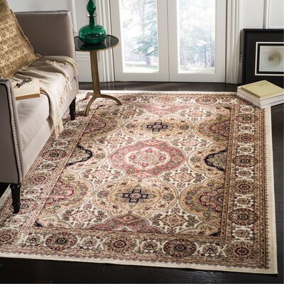 Carolus Rectangle Ivory Area Rug Rug Size: Rectangle 22 x 37