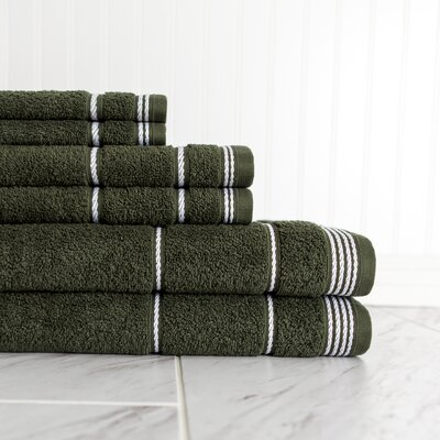 6 Piece Towel Set Color: Hunter Green