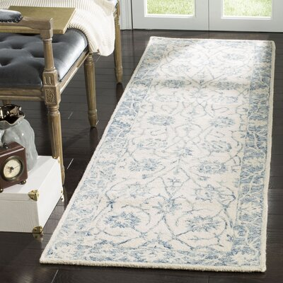 Bevis Hand Tufted Wool Ivory/Blue Area Rug Rug Size: Runner 23 x 8