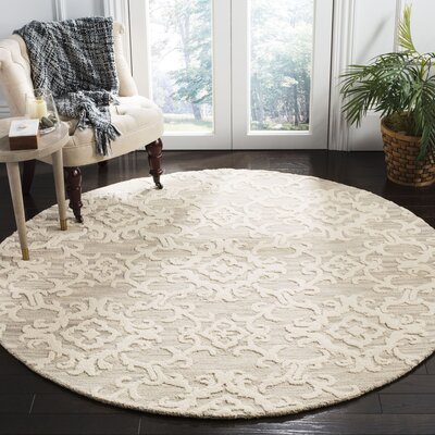 Bevis Hand Tufted Wool Gray Area Rug Rug Size: Round 6