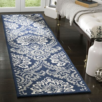 Bevis Hand Tufted Wool Navy Area Rug Rug Size: Runner 23 x 8