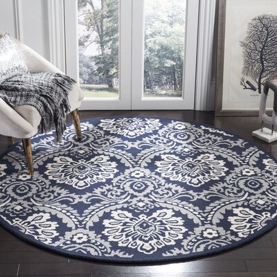 Bevis Hand Tufted Wool Navy Area Rug Rug Size: Round 6