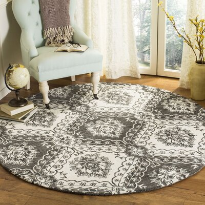 Bevis Hand Tufted Wool Charcoal Area Rug Rug Size: Round 6