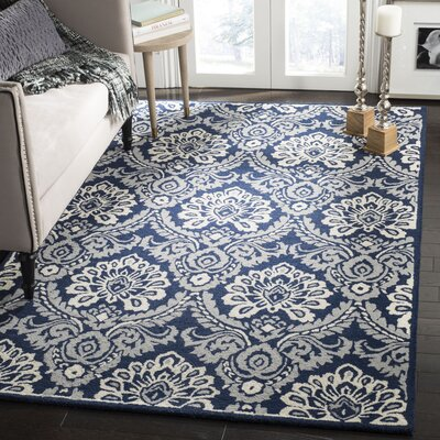 Bevis Hand Tufted Wool Navy Area Rug Rug Size: Rectangle 4 x 6