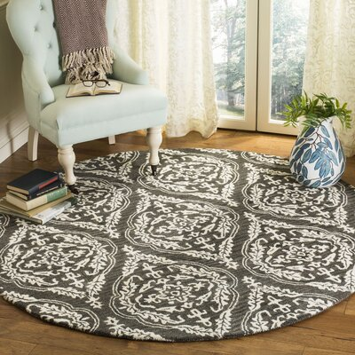 Bevis Hand Tufted Wool Charcoal Medallion Area Rug Rug Size: Round 6