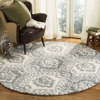 Bevis Hand Tufted Wool Grey/Black Area Rug Rug Size: Round 6