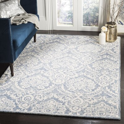 Leedy Hand-Tufted Wool Blue/Ivory Area Rug Rug Size: Rectangle 5' x 8'