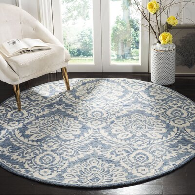 Leedy Hand-Tufted Wool Blue/Ivory Area Rug Rug Size: Round 6
