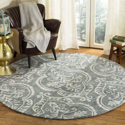 Bevis Hand Tufted Wool Blue Area Rug Rug Size: Round 6
