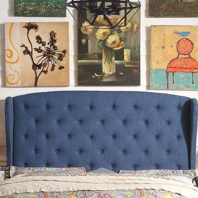 Nielsen Upholstered Wingback Headboard Upholstery: Classic Navy, Size: Queen