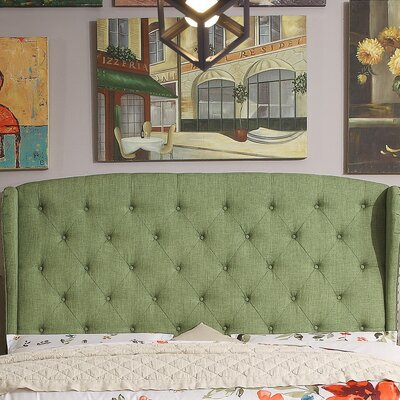 Nielsen Upholstered Wingback Headboard Upholstery: Natural Olive, Size: Queen