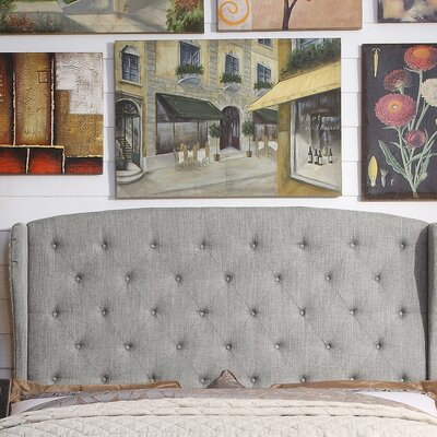 Nielsen Upholstered Wingback Headboard Upholstery: Gray, Size: King