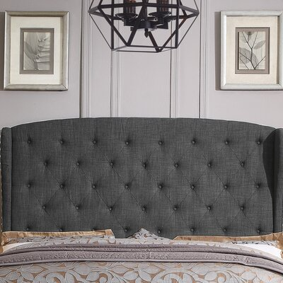 Nielsen Upholstered Wingback Headboard Upholstery: Charcoal, Size: Queen