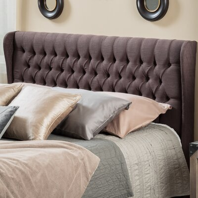 Rhonda Upholstered Wingback Headboard Upholstery: Brown