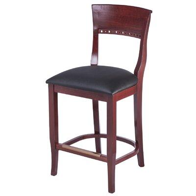 Tymon 24 Bar Stool Finish: Mahogany, Upholstery: Black Bonded Leather