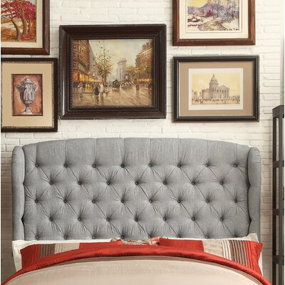 Leatham Upholstered Wingback Headboard Size: Full, Upholstery: Gray