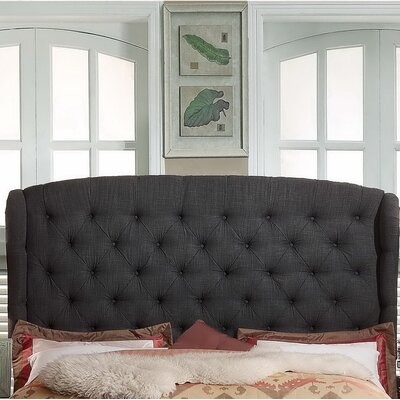 Leatham Upholstered Wingback Headboard Size: Queen, Upholstery: Charcoal