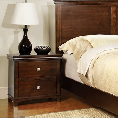 Buffalo 2 Drawer Nightstand Color: Brown Cherry
