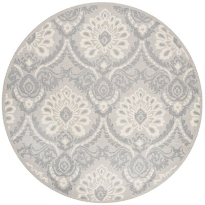 Bevis Hand Tufted Wool Light Gray Area Rug Rug Size: Round 6