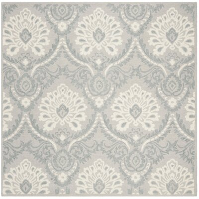 Bevis Hand Tufted Wool Light Gray Area Rug Rug Size: Square 6