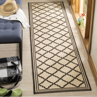 Sherell Creme/Brown Area Rug Rug Size: Runner 2 x 8
