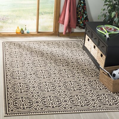 Sherell Cream/Brown Area Rug Rug Size: Rectangle 9 x 12