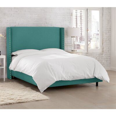 Peoria Upholstered Panel Bed Size: King, Color: Linen Laguna