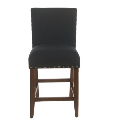 Arlene 24 Bar Stool Seat Color: Dark Navy, Frame Color: Mid-tone Walnut