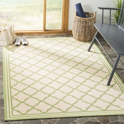 Sherell Cream/Olive Area Rug Rug Size: Rectangle 8 x 10