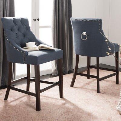 Ayansh 26 Bar Stool Upholstery: Linen-Navy
