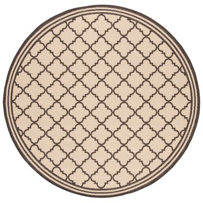 Sherell Creme/Brown Area Rug Rug Size: Round 67