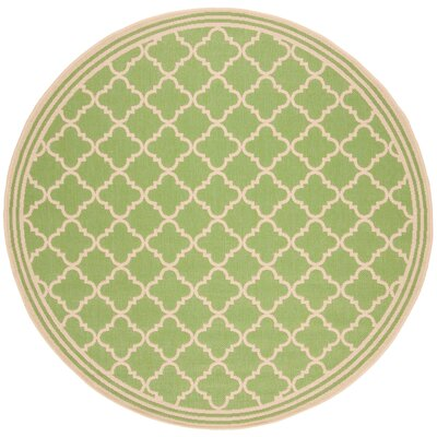 Sherell Olive/Cream Area Rug Rug Size: Round 67