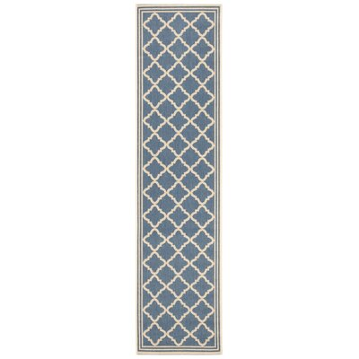 Sherell Blue/Creme Area Rug Rug Size: Runner 2 x 8