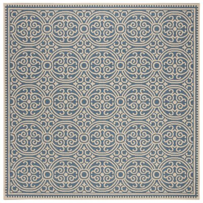 Sherell Cream/Blue Area Rug Rug Size: Square 67