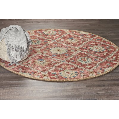 Arla Jacobean Diamond Red Area Rug Rug Size: Round 4