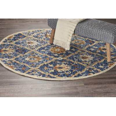 Arla Jacobean Diamond Navy/Yellow Area Rug Rug Size: Round 4