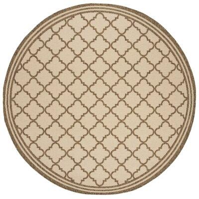 Berardi Cream/Brown Area Rug Rug Size: Round 67