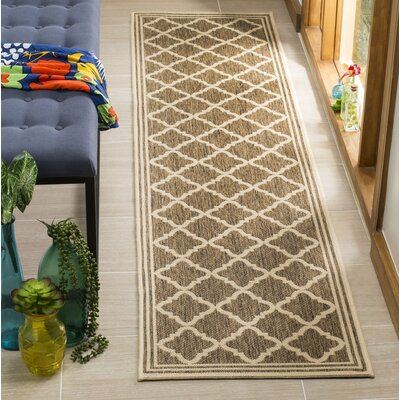 Berardi Brown/Cream Area Rug Rug Size: Runner 2 x 8
