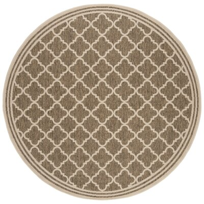 Berardi Brown/Cream Area Rug Rug Size: Round 67