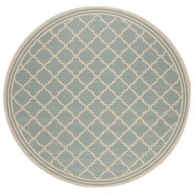 Berardi Aqua/Cream Area Rug Rug Size: Round 67