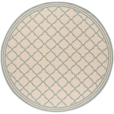 Berardi Cream/Aqua Area Rug Rug Size: Round 67