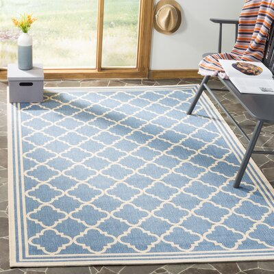 Sherell Blue/Creme Area Rug Rug Size: Rectangle 4 x 6