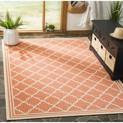 Altizer Red/Cream Area Rug Rug Size: Rectangle 8 x 10