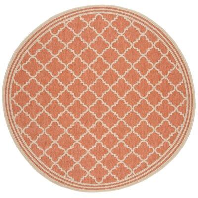 Berardi Rust/Cream Area Rug Rug Size: Round 67