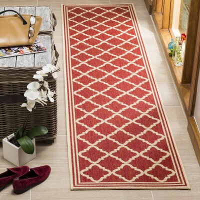 Altizer Red/Cream Area Rug Rug Size: Runner 2 x 8